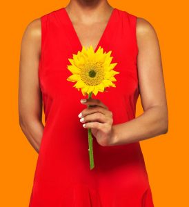 Sunflower, red dress